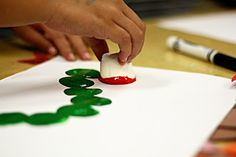 smART Class- marshmallow stamping with very hungry caterpillar