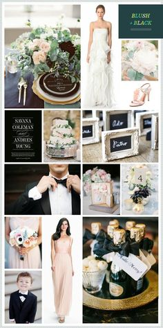 Archives: The Motherload of Wedding Inspiration Boards — Lindsey Brunk - Blush & Black, hints of Gold