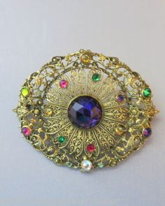 Vintage Gold-Washed Pin with Multi-Colored Stones