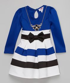 Another great find on #zulily! Royal Stripe Bow Dress & Necklace - Toddler & Girls by Citlali's Choice #zulilyfinds
