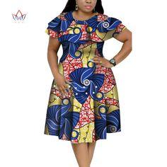 Image of New Bazin Riche African Ruffles Collar Dresses for Women Dashiki Print Pearls Dresses Vestidos Women African Clothing African Dresses Plus Size, Short African Dresses, African Blouses, African Print Dresses, Short Sleeve Dresses, African Fashion Ankara, Latest African Fashion Dresses, African Print Fashion, Latest Fashion