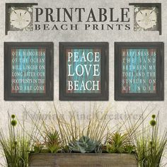 Printable Beach Quote - 3 Piece Set  Gorgeous distressed wood is the perfect background for their cheery beach quotes that would make any beach house or themed room complete! There are so many uses for this simple 8x10 design. You will received a set of all three prints pictured above - theyd look great on any gallery wall or scattered throughout your living space.  This is a Digital Download item! There is no physical product or frame being shipped.  *Watermarks are on previews only and…