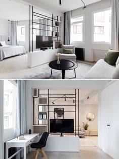 Tv Stand Room Divider, Living Room Divider, Home Design Living Room, Condo Living, Living Area, Small Space Living, Small Spaces, Studio Room Design, Space Dividers