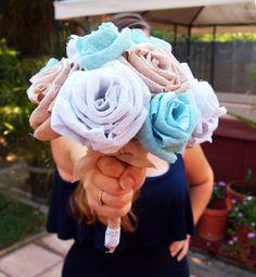 Wedding Bouquet, Cotton Burlap Rose(s), home decor, floral arrangement, shabby chic, rustic decor