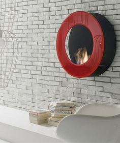 Bioethanol wall-mounted vent free #fireplace CIRCLE by ITALY DREAM DESIGN | #design Matteo Ragni #red