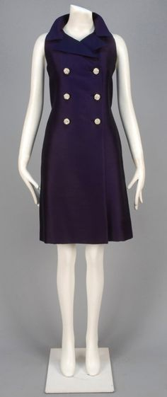 Sleeveless purple suit styled dress with domed rhinestone buttons, side seam pockets, inverted back pleat and back be. on Nov 2014 Suit Fashion, Fashion Dresses, Purple Suits, Anne Klein, Double Breasted, 1960s, High Neck Dress, Dresses For Work, Designers