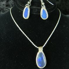 Beautiful Blue Opal Sterling Silver set! Check it out here http://www.azbluerockers.com/azrockwear/blue-opal-sterling-silver-set-necklace-earrings-7475