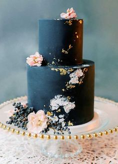 wedding cakes black moody wedding cake, dark blue wedding cake with blush flowers, wedding cake, two tier wedding cake Navy Blue Wedding Cakes, Blue And Blush Wedding, Blush Wedding Cakes, Rose Wedding, Wedding White, Garden Wedding, Wedding Cake Two Tier, Navy Blush Weddings, Turquoise Weddings