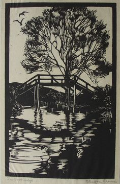 Original woodcut by E Balfour Browne title The Footbridge
