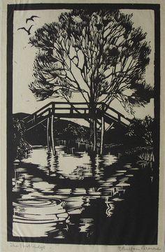 Original woodcut by E Balfour Browne title The Footbridge