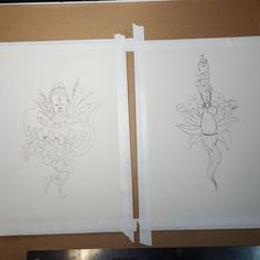 Drawings transferred to watercolor paper. Watercolor is next!  #art #sketch #drawing #sketching #artofchasehenson #instaart #prismacolor #lotus #chrysanthemum #artoftheday