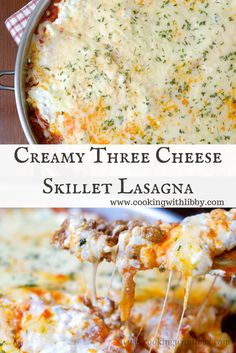 Made with three different types of cheese and green onions, this Creamy Three Cheese Skillet Lasagna is comfort food to the core!