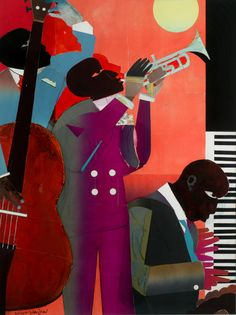 Romare Bearden Afro-American), Up at Minton's, Watercolor and Collage on Board, 39 x 29 inches. African American Artist, American Artists, Mixed Media Collage, Collage Art, Soul Collage, Collages, Romare Bearden, Jazz Art, Arts Integration