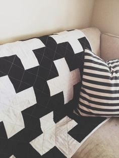 Black and White Plus Sign Quilt via Etsy