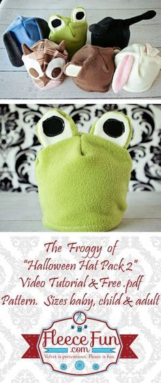 DIY Fleece Froggy Hat tutorial.  The perfect  little hat for your little frog.  You can use this for a quick costume on Halloween night or for a fun hat your child can wear anytime.  Get the free pattern here!