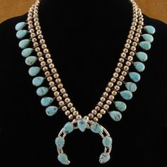 Traditional #Navajo Old Pawn Sleeping Beauty Blue #Turquoise Sterling Silver Squash Blossom #Necklace $937.50 #Alltribes