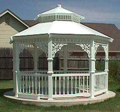 A gazebo by our waterfront would be heavenly. Hot Tub Gazebo, Backyard Gazebo, Garden Gazebo, Pergola Patio, Diy Patio, Pergola Plans, Pergola Ideas, Outdoor Retreat, Outdoor Rooms