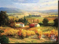 Hinus Hazy Tuscan Farm Gallery-Wrapped Canvas by Global Gallery Farm Canvas Art, Farm Art, Fantasy Landscape, Landscape Art, Landscape Paintings, Wall Paintings, Tuscany Landscape, Poster Prints, Art Prints
