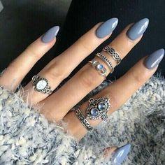 Blue grey acrylic nails                                                                                                                                                                                 More