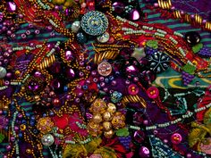 Beads sewn together to look like grape clusters in the art quilt series, Wines of the World