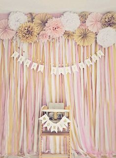 What a perfect pink & gold party backdrop. Love this for a birthday photo booth. Pink and gold fans. Pink and gold birthday banner. Diy Photo Booth Backdrop, Diy Wedding Backdrop, Backdrop Ideas, Backdrop Photobooth, Wedding Decorations, Booth Ideas, Photo Backdrops, Gold Backdrop, Banner Backdrop