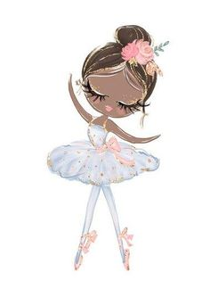 Cute Cartoon Ballet Dancing Girl Picture Sweet Home Decor Nordic Canvas Painting Wall Art Poster Pink Print for Girl's Bedroom - 40x60cm no frame / A-BLT8889