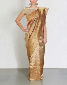 Gold Metallic Saree with Wine Pallu-Anavila- img1