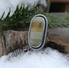 Striped Owyhee Picture Jasper Sterling Silver Cocktail Ring. Scenic Jasper Stone. Horizontal Lines. Sage Green Yellow Orange. US Ring 5 3/4 by QuietTimeJewelry on Etsy