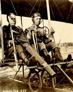 rockyp77:  CPT Charles Chandler mans a prototype Lewis gun while sitting in a Wright Model B Flyer piloted by LT Roy Kirtland. Photo was taken following the first successful firing of a machine gun from an airplane in June 1912.