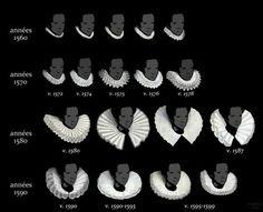 Good examples of ruff collars. Source: Ruff collars from 1560 to More interesting imagery and comparisons between styles in different European countries via this pin. Mode Renaissance, Costume Renaissance, Elizabethan Costume, Elizabethan Fashion, Tudor Fashion, Elizabethan Era, Renaissance Fashion, 1500s Fashion, Medieval Costume