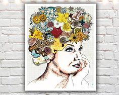 """""""Be Fabulous"""" - PAPER PRINT - mixed media collage art. TITLE - BE FABULOUS (signed archival giclee print on acid-free cotton paper. white border for framing purposes as pictured.) You're fabulous, darling :) This mixed media illustration was the first in a series of """"bohemian girl"""" that I started to create... starting with a portrait of a female face, then adding flowers and jewels and embellishments. After creating this lovely lady, I was hooked. A unique piece of wall art for the…"""