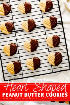 These heart peanut butter cookies are perfect Valentine's Day cookies for peanut butter lovers! Peanut Butter and chocolate are the perfect pair and these heart-shaped cookies are dipped in chocolate to make these cookies that much more special. #peanutbuttercookies #valentinesdaycookies #valentinesday #peanutbutterchocolate #dippedcookies #peanutbutterlovers #heartcookies #heartshaped Healthy Cookie Recipes, Holiday Cookie Recipes, Peanut Butter Recipes, Best Dessert Recipes, Easy Desserts, Delicious Desserts, Healthy Cookies, Holiday Foods, Cookie Ideas
