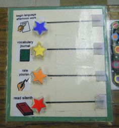 Boardmaker with velcro--individual student communication board. Taped to desk.