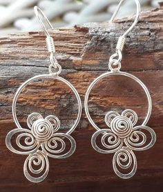 Sterling Silver Thai Dangle Earrings Flower Circle | Sure Design