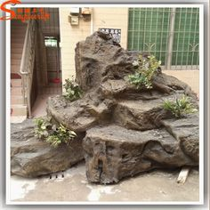 tuin decoratie muur waterval fonteinen glasvezel rots waterval waterval boeddha fontein landschap met grafische