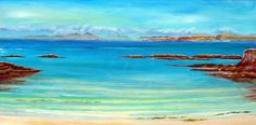Aska,Art,Painting,Print,Giclee,beach print ,see landscape,blues, torquoise water, sea and sand,blues and greens