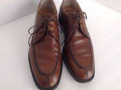 Salvatore Ferragamo Men's Solid Brown Oxford Leather Shoes S 10.5D Made In Italy #SalvatoreFerragamo #Oxfords