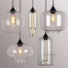 Pendant Light Glass Shade Ceiling Lamp Filament Socket Part 98
