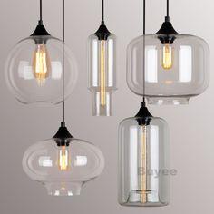 MODERN INDUSTRIAL STYLE PENDANT LIGHT GLASS SHADE CEILING LAMP FILAMENT SOCKET #TWOFACES #Modern
