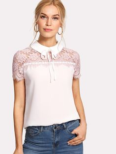 SheIn offers Tie Neck Lace Yoke Top & more to fit your fashionable needs. Cute Blouses, Blouses For Women, Ladies Blouses, Women's Blouses, Ladies Tops, Zara Tops, Casual Dresses, Fashion Dresses, Women's Fashion