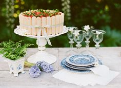 Dainty ladyfinger cake and toile cake plates // French Dressing: Toile Decor & Details