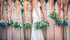 How stunning are these mix-matched dresses? Shop beaded bridesmaid dresses at Adrianna Papell as seen in BRIDES magazine. Hometown Ohio Vineyard Wedding, Bride and Bridesmaids' Bouquets