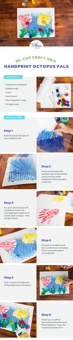Make a splash with this colorful craft that turns tots handprints into an under-the-sea adventure!    #Crafts #PlumOrganics #EatYourColors #DIY #ToddlerCrafts #Recap