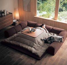 Kotatsu, A Traditional Japanese Floor Sofa Made Modern With Convertible Options