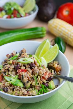 Summer Vegetable Quinoa Burrito Bowls with Corn, Zucchini and Black Beans.