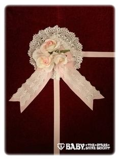 BABY,THE STARS SHINE BRIGHT  Rose Party Headdress in PinkxOff white lace