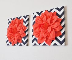 """TWO Wall Flower -Coral Dahlia on Navy and White Chevron 12 x12"""" Canvas Wall Art- Flower Wall Art on Etsy, $66.00"""