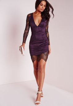 Missguided -  Suede/Lace Bodycon Dress Dark Purple