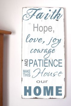Family Rules -Faith, Hope, Love, Joy  Make This House Our Home - Typography Word Art Sign. $95.00, via Etsy.