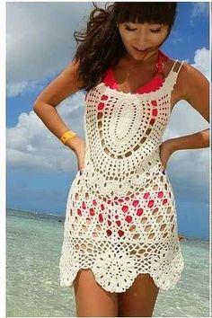 20 Ideas crochet dress cover up etsy Crochet Beach Dress, Bikinis Crochet, Crochet Shirt, Crochet Cover Up, Crochet Top, Crochet Hats, Crochet Videos, Knit Fashion, Beautiful Crochet